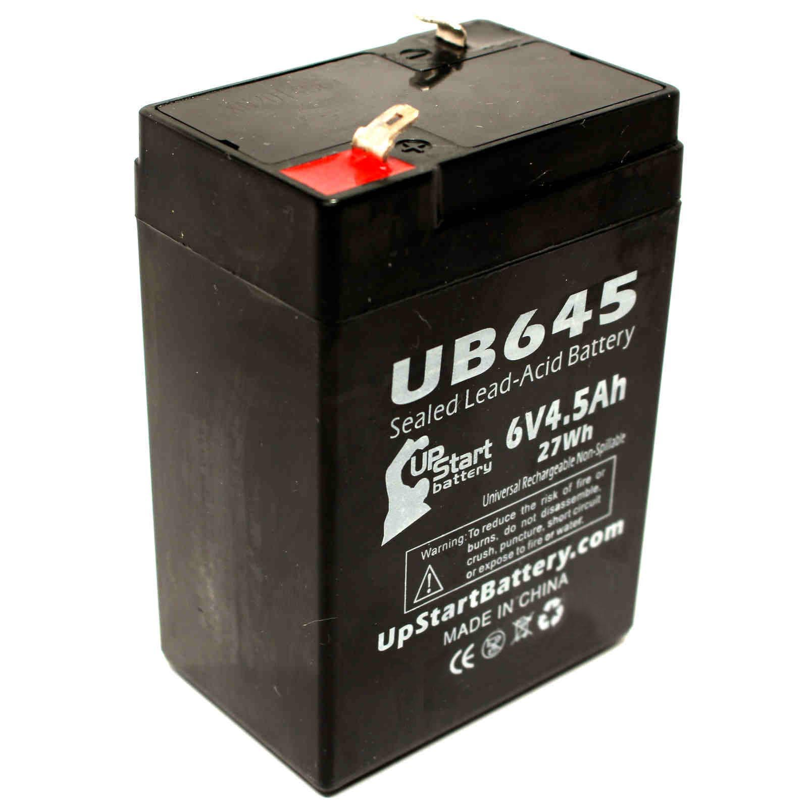 Zeus PC4.5-6F1 Battery Replacement - UB645 Universal Sealed Lead Acid Battery (6V, 4.5Ah, 4500mAh, F1 Terminal, AGM, SLA) - Includes TWO F1 to F2 Terminal Adapters - image 4 de 4