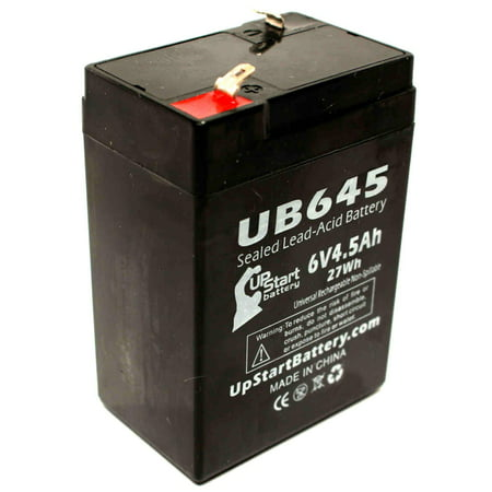 Compatible Teledyne Big Beam 1180005 Battery - Replacement UB645 Universal Sealed Lead Acid Battery (6V, 4.5Ah, 4500mAh, F1 Terminal, AGM, SLA) - Includes TWO F1 to F2 Terminal (Screw Terminal Base Sealed Beam)