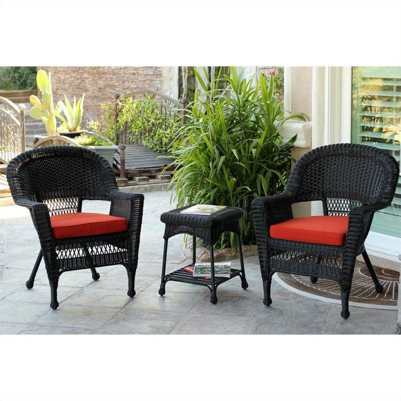 Jeco 3 Piece Wicker Conversation Set in Black without Cushions