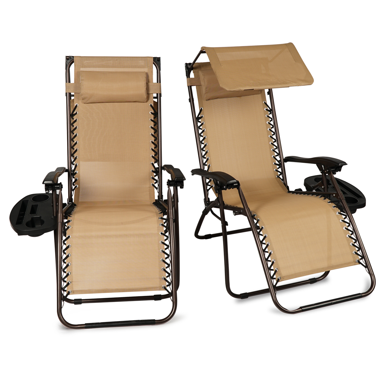 BELLEZE 2 Canopy Top Zero Gravity Chairs Patio Cup Holder Device Slot Outdoor Lounge Reclining Chair UV Beige