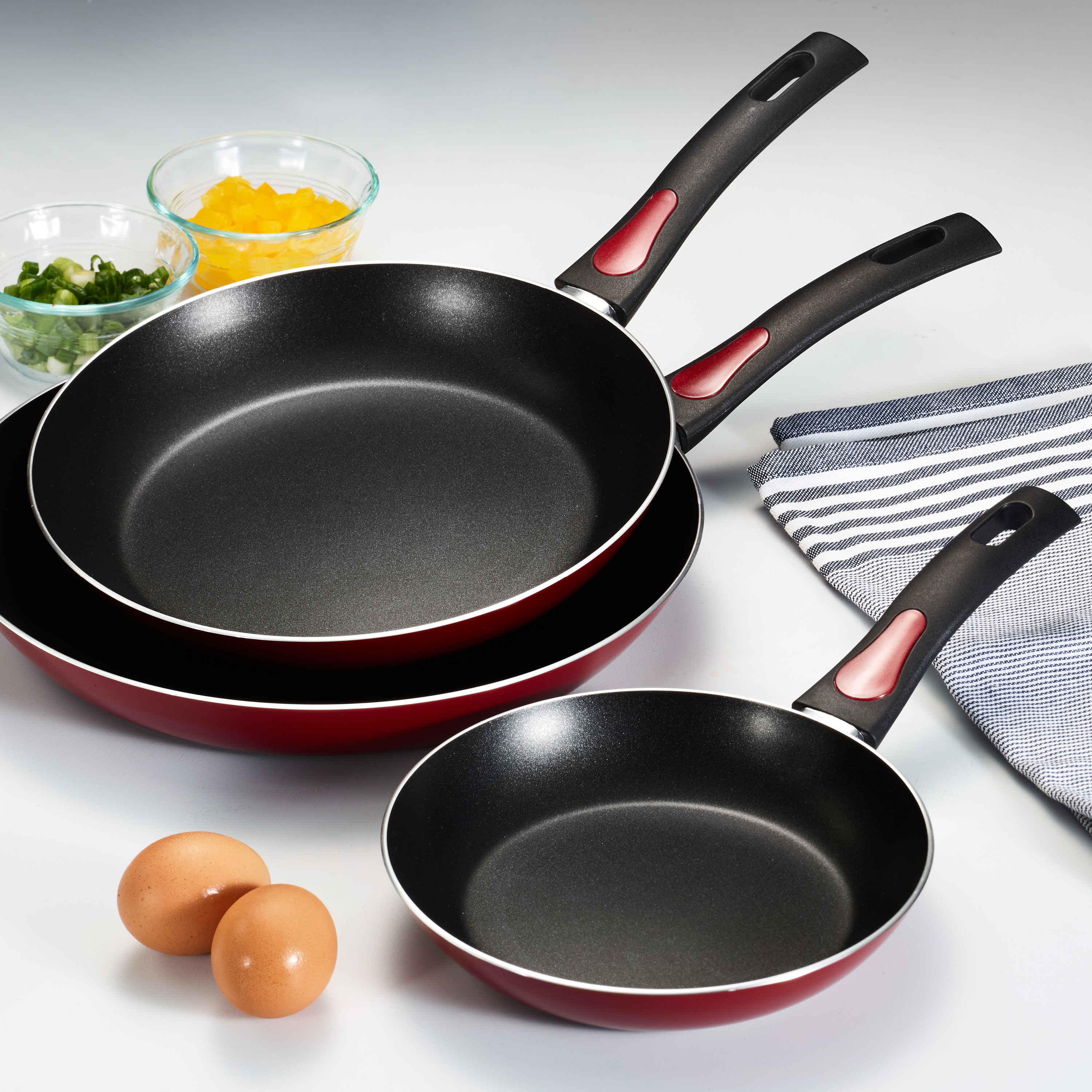 "Tramontina 3 Pack EveryDay Red Nonstick 8"", 10"" and 12"" Fry Pans"