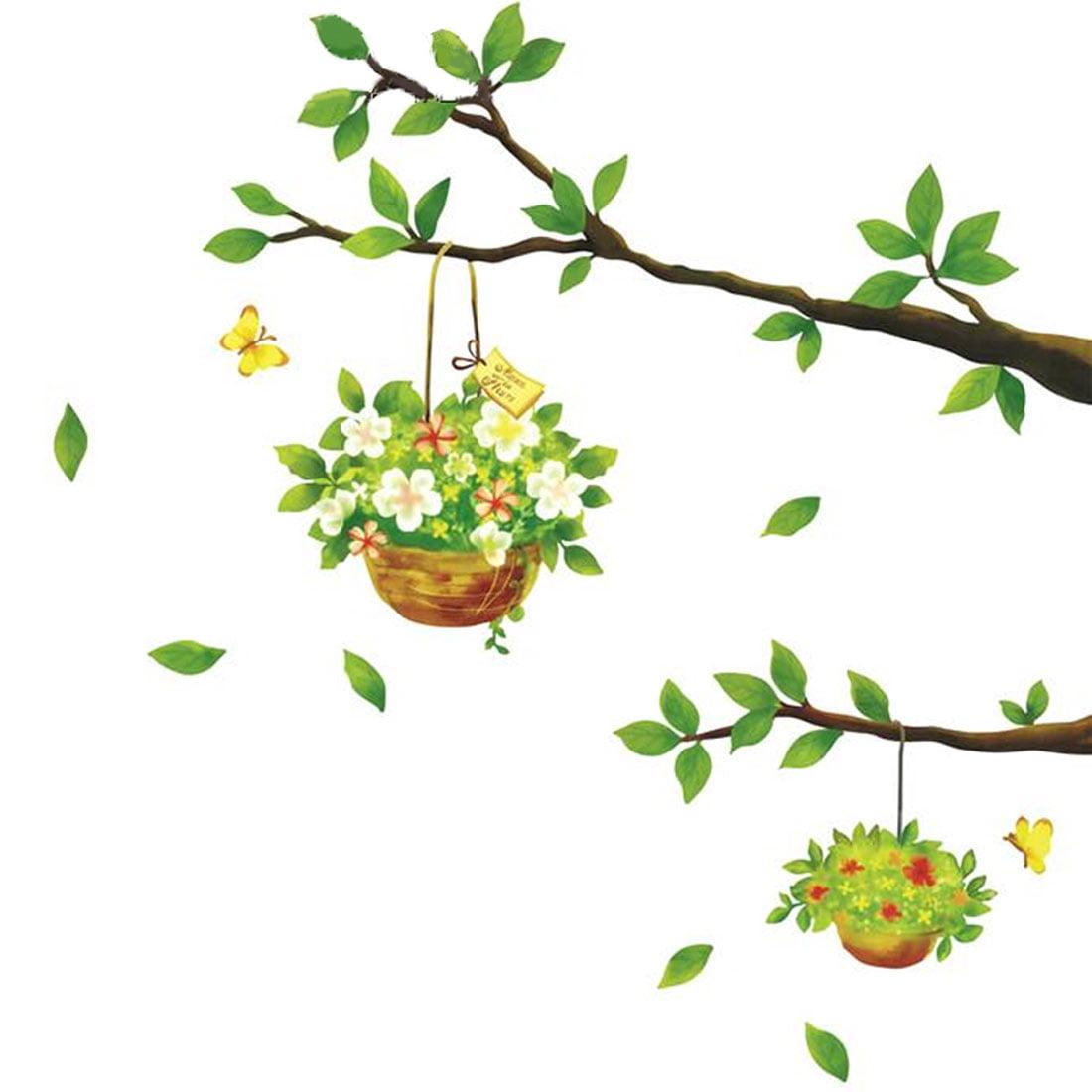 Tree Flowerpot Pattern Adhesive Wall Sticker Decal Wallpaper 70 x 50cm