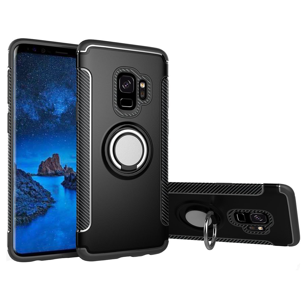 Mignova Galaxy S9 Plus Case, Two-layer Reinforced Back Cover Protect Case with Ring Holder for Samsung Galaxy S9 Plus(Black)