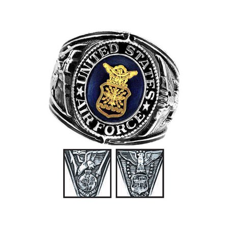Official US Air Force Deluxe Engraved Silver Color Ring (Us Air Force Ring)