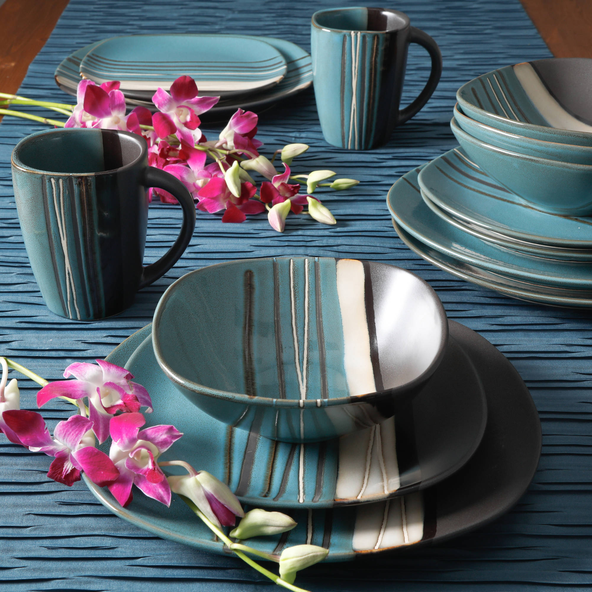 Better homes and gardens bazaar teal 16 piece dinnerware - Better homes and gardens dish sets ...
