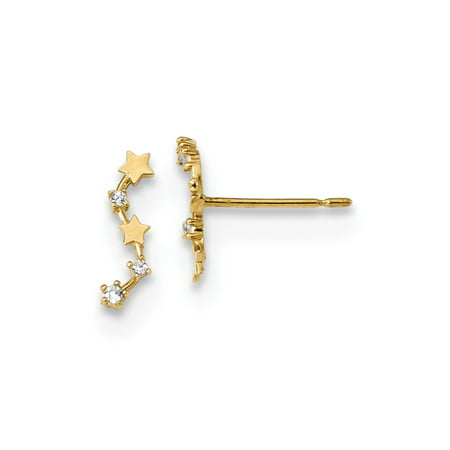 Roy Rose Jewelry 14K Yellow Gold Madi K Curved Stars CZ Post Dangle Earrings