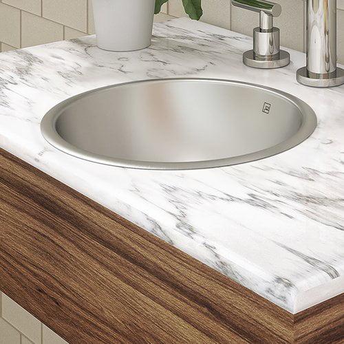 DecoLav Hayley Stainless Steel Metal Circular Undermount Bathroom Sink with Overflow
