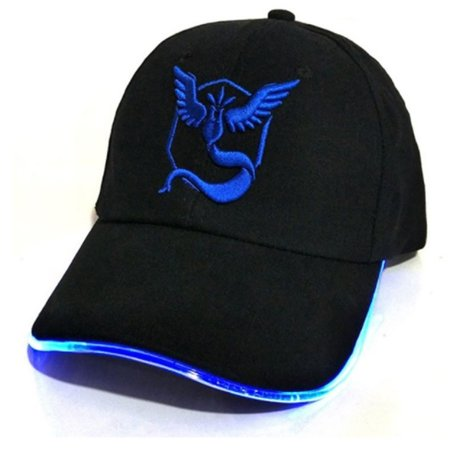 Pokemon GO Light Up Hat - Unisex One Size Fits Most Adjustable Baseball Cap With Embroidered Team Mystic Logo - High-Quality Stitching And Logos - Great Gift For Pokemon - Pokemon Hat
