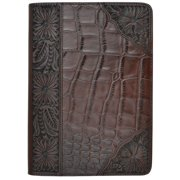 3D Western iPad Case Cover Gator Inlay Magnetic Stand Dark Brown G294