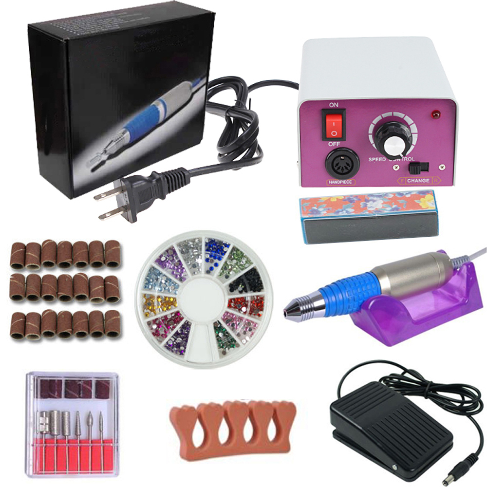 iMeshbean Colorful Complete Professional Electric Nail File Drill Machine Art Bits Acrylic Manicure Pedicure Beauty DIY Kit (Model09)