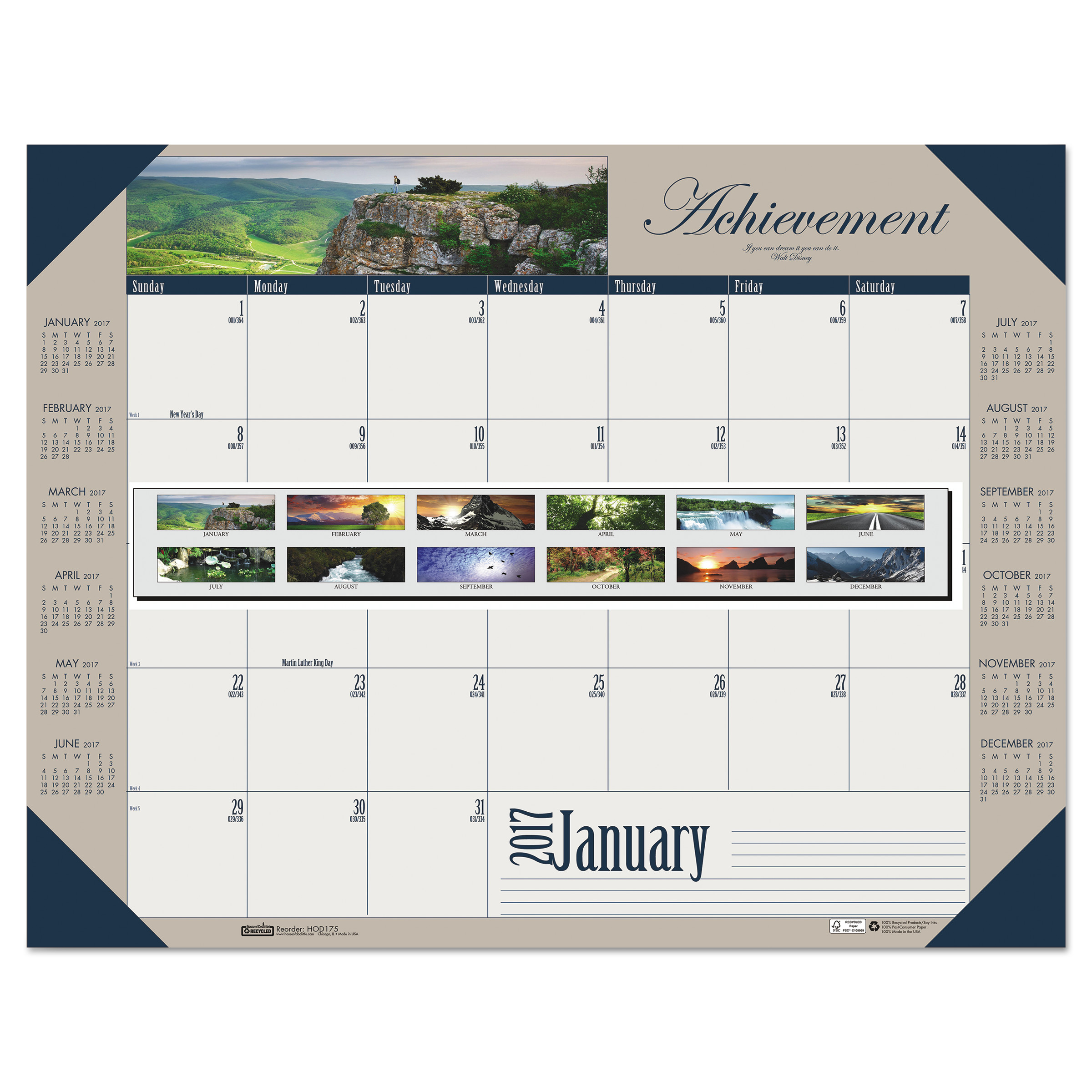 House of Doolittle Recycled Motivational Photographic Monthly Desk Pad Calendar, 22 x 17, 2018