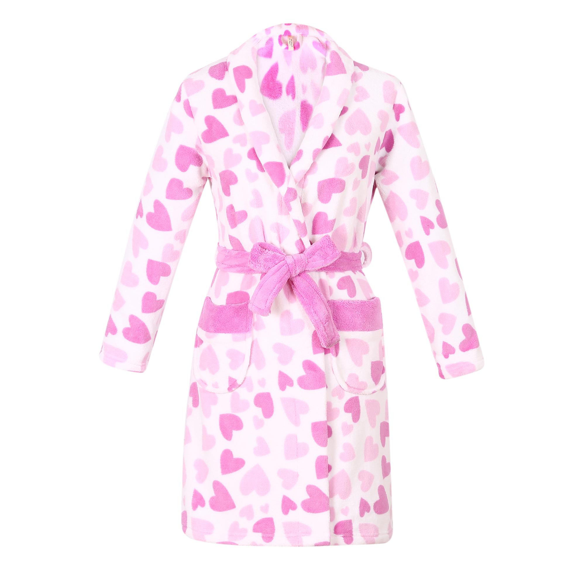 Sweet N Sassy Girls Robe Fair Isle Coral Plush Coral Fleece Long Sleeve Bathrobe