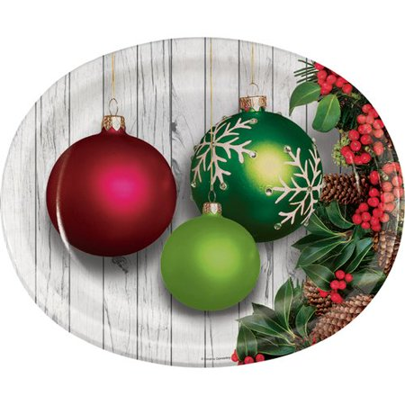 The Holiday Aisle Templeton Christmas Ornaments Oval Paper Dinner Plate (Set of 24)