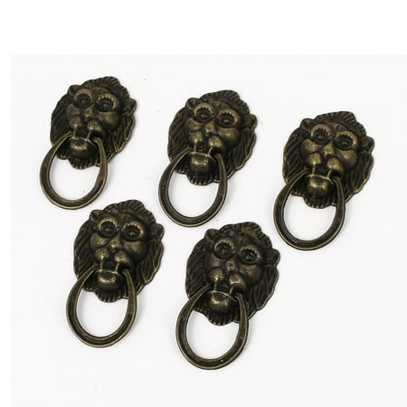 Drawers Door Vintage Style Metal Lion Head Design Chest Knob Pull Handle 5pcs