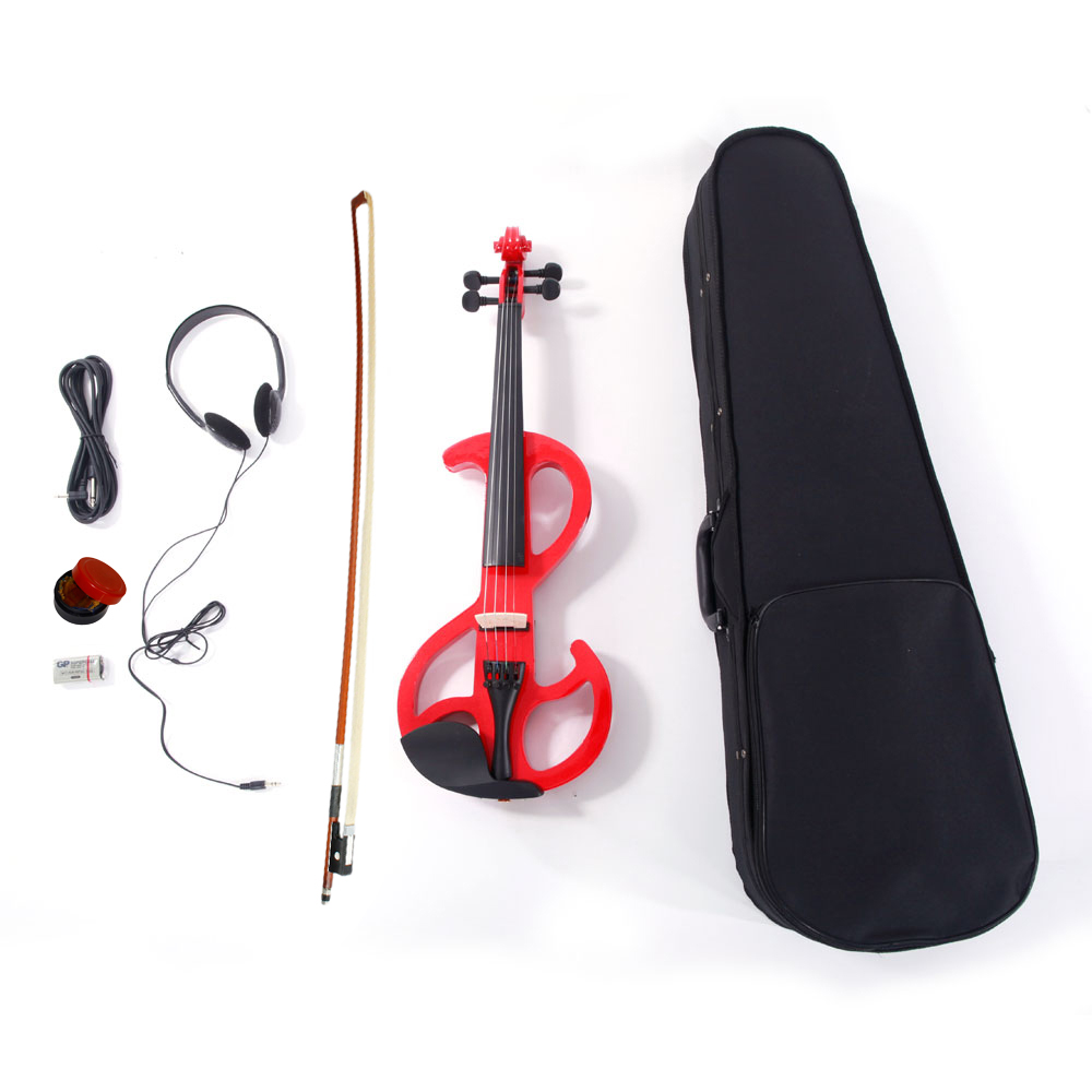 Zimtown 8 Pattern Electric Violin Silent Red with Case and More Accessories