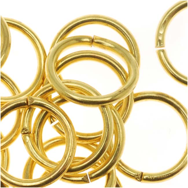 Gold Tone Brass Open 8mm Jump Rings 18 Gauge (50)