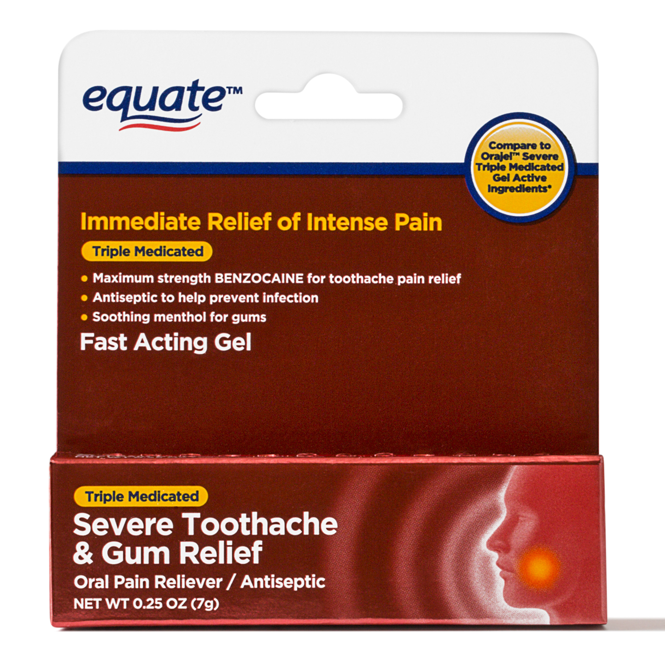 Equate Severe Toothache & Gum Relief/Antiseptic Gel, 0.25 Oz