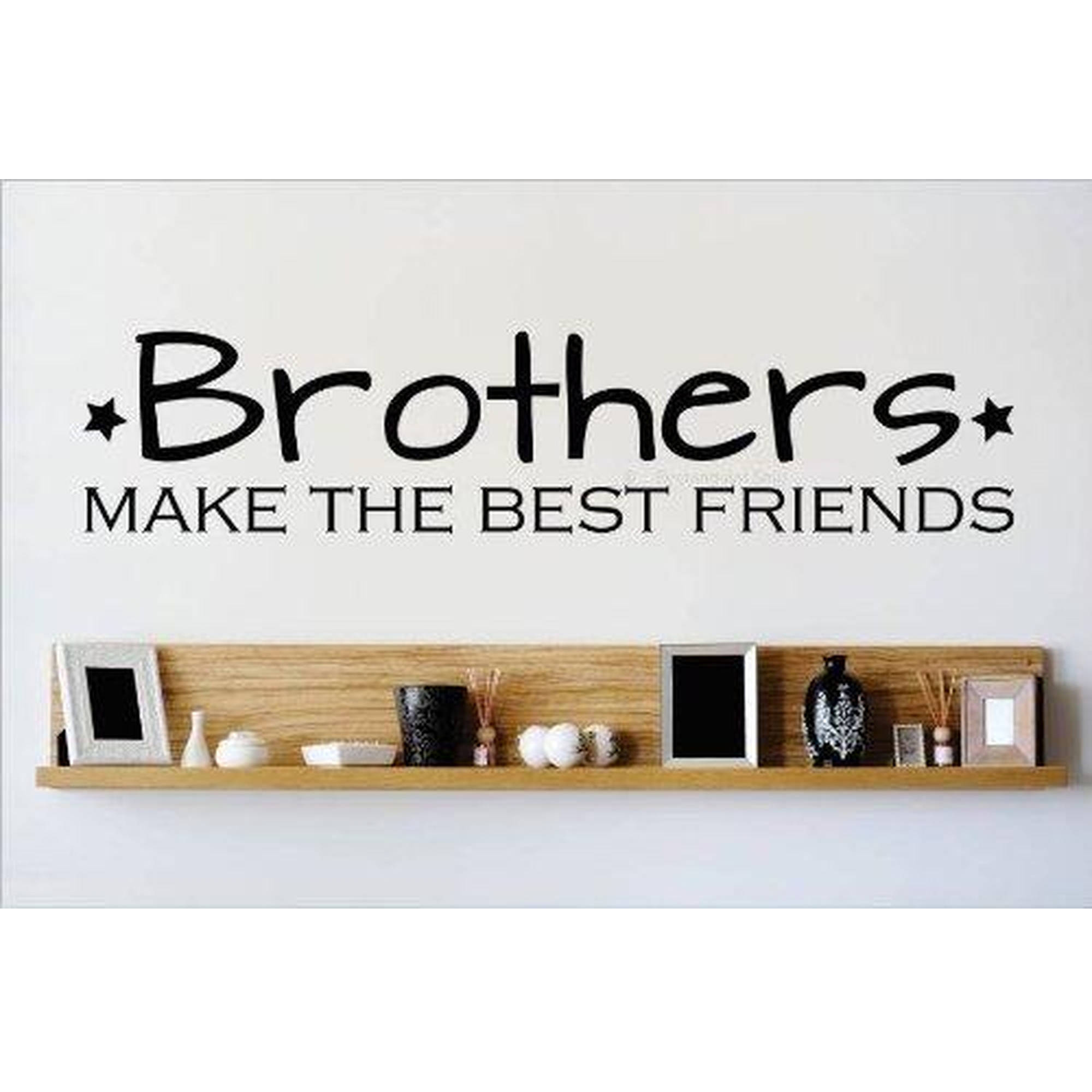 "Brothers Make The Best Friends Boys Bedroom Vinyl Wall Decal, 7"" x 30"", Black"