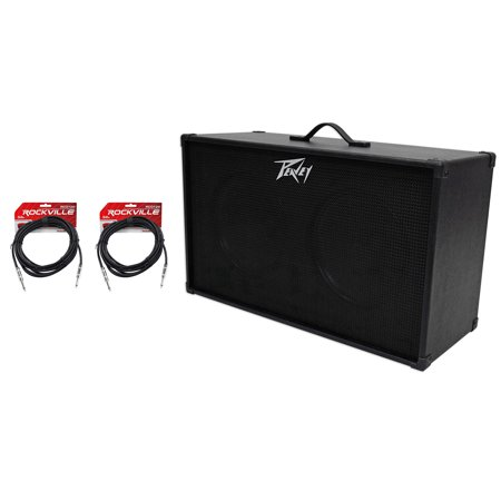"PEAVEY 212 2x12"" Speakers Guitar Amplifier Amp Extension Cabinet+2 Guitar Cables"