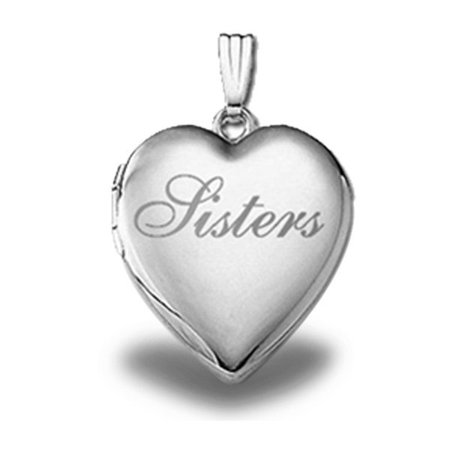 Sterling Silver  Sisters  Heart Locket   3 4 Inch X 3 4 Inch