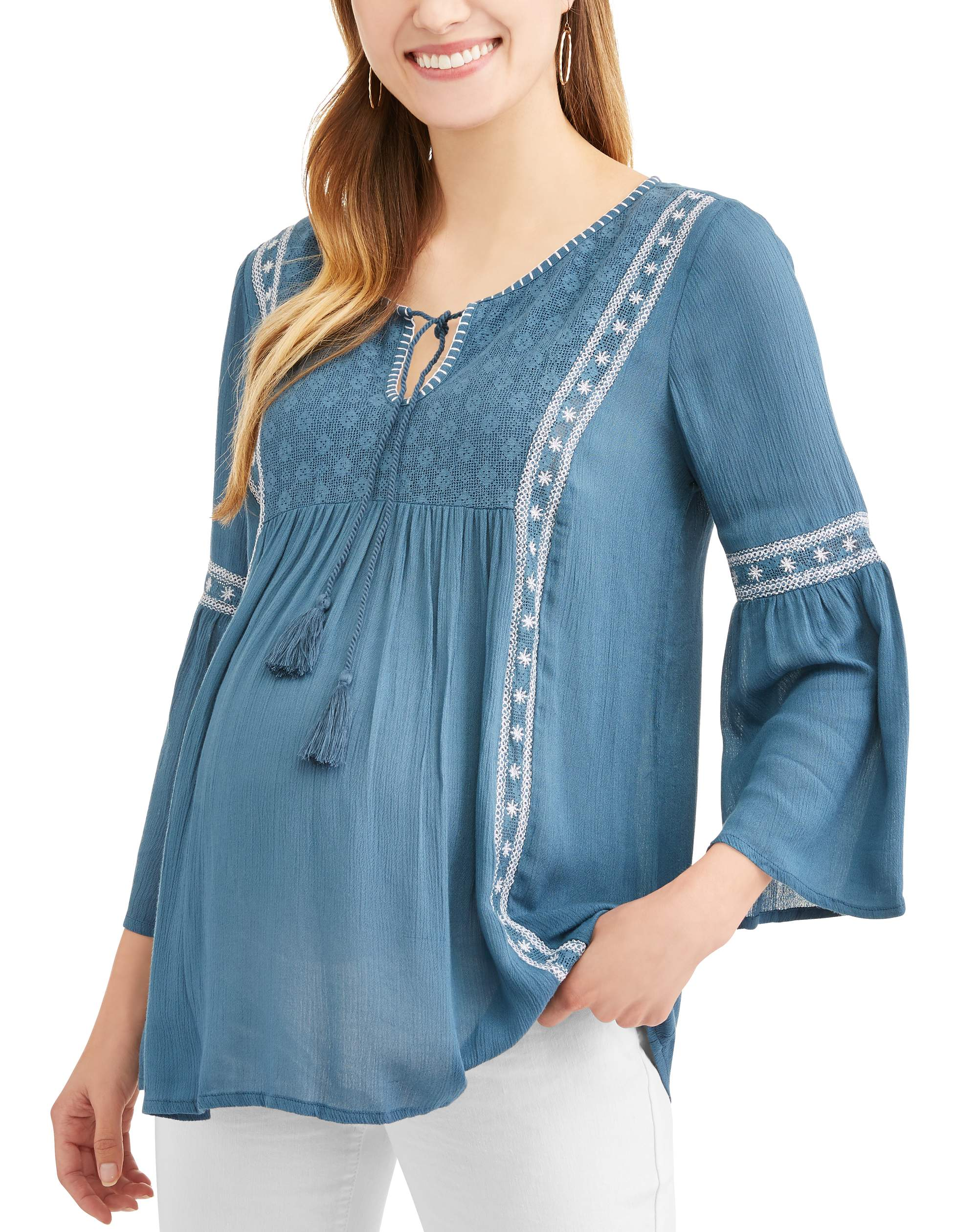 Maternity Embroidered Peasant Top