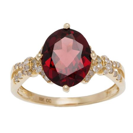 Oval Faceted Garnet Ring - 10k Yellow Gold 2.30ct Oval Garnet and Diamond Ring (1/6 cttw)