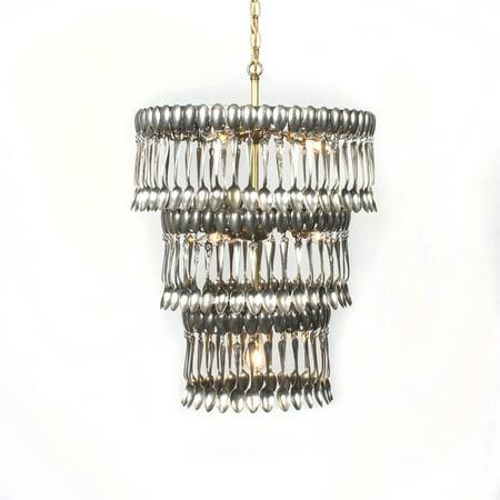 Custom Made Chandelier - Elegant Silver Spoon Chandelier, 3 Tiers, Artisan Hand Made, Custom Made