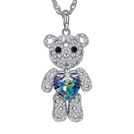 Ginger Lyne Collection Teddy Bear Movable Pendant Sterling Silver Waterwaves Chain -