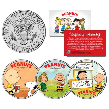 Peanuts Valentines Snoopy Lucy Patty Charlie Brown Jfk Half Dollar Us 3 Coin Set