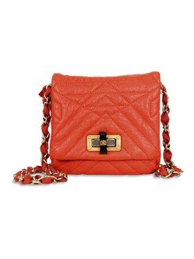 ad0b47ba4fca19 Product Image Lanvin Happy Classic Minipop Lambskin Shoulder Bag - Orange