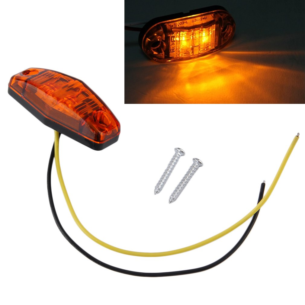 1 x LED Light 2 Diode 1x2.5 Surface Mount Clearance Side Marker Trailer