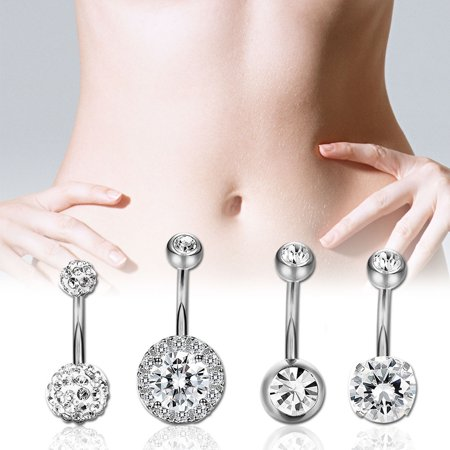 4pcs Fashion Zircon Belly Button Ring Navel Stud Belly Ring Body Piercing Jewelry Gift Silver