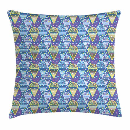 Ice Cream Throw Pillow Cushion Cover, Memphis Style Eighties and Nineties Pattern with Geometrical Pop Art Funky Flavor, Decorative Square Accent Pillow Case, 18 X 18 Inches, Multicolor, by