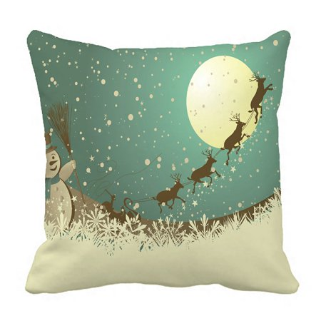 PHFZK Christmas Theme Pillow Case, Winter Holiday Merry Christmas Happy Snowman and Reindeer Pillowcase Throw Pillow Cushion Cover Two Sides Size 18x18 inches](Winter Holiday Themes)