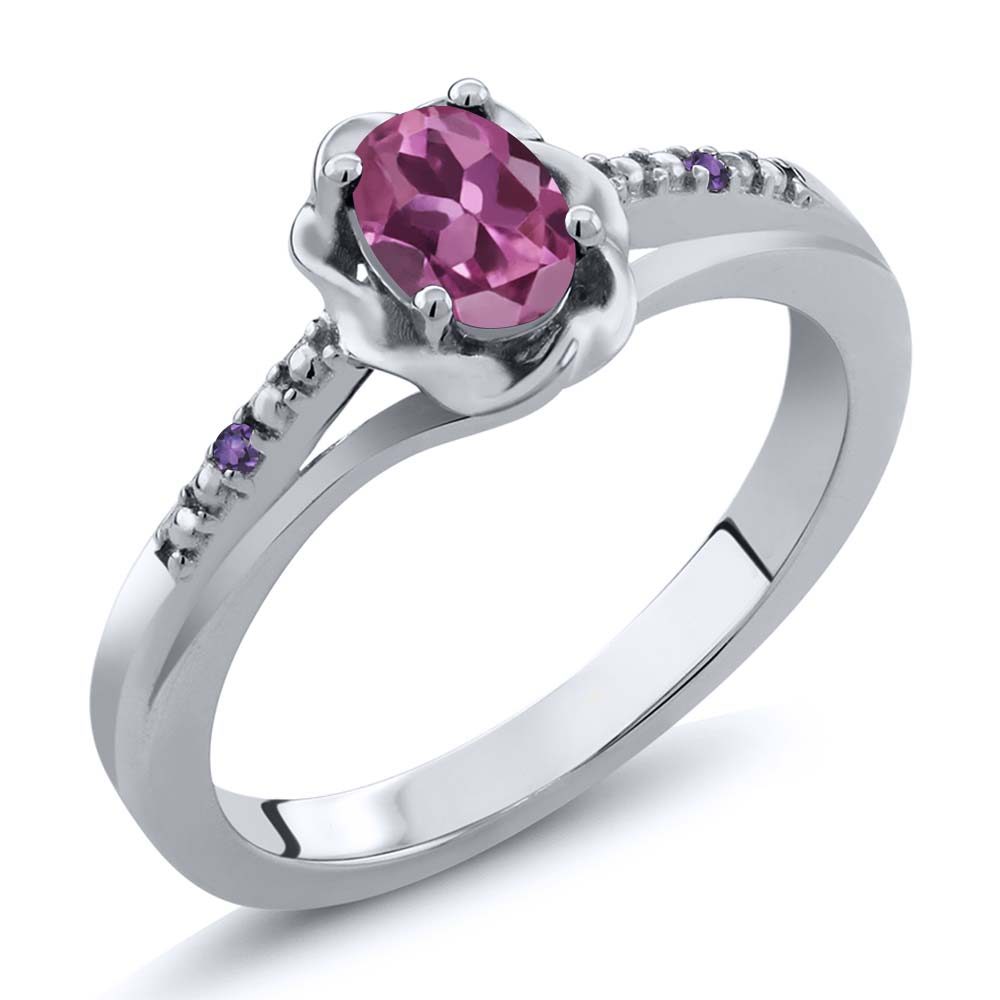 0.51 Ct Oval Pink Tourmaline Purple Amethyst 14K White Gold Ring by