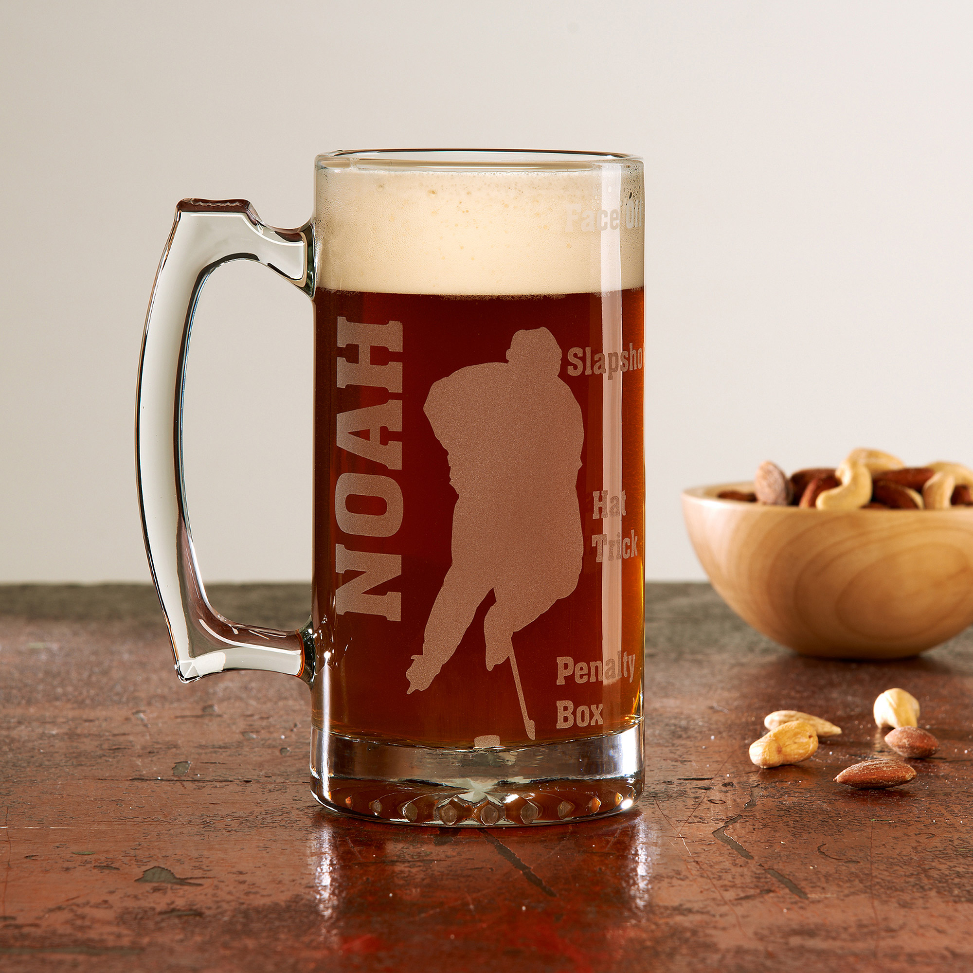 Personalized Sports Fan 25oz Beer Mug, Hockey