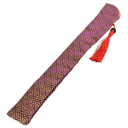Chinese Retro Style Tassel Hand Held Folding Fan Pouch Fabric Purper Yellow](Chinese Hand Fan)