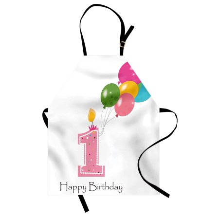 Party Bib - 1st Birthday Apron Baby Girl Toddler Party Candlestick with Colorful Balloons Print, Unisex Kitchen Bib Apron with Adjustable Neck for Cooking Baking Gardening, Pale Pink and White, by Ambesonne