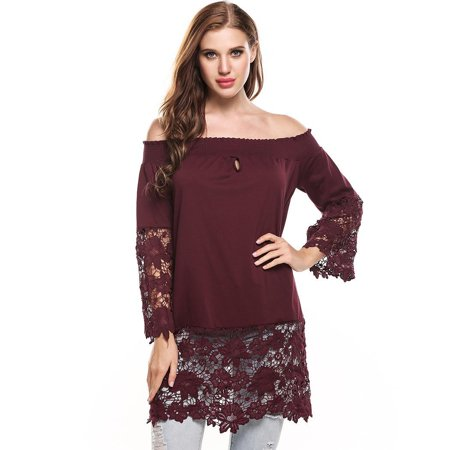 fb73d206bb8243 Women Sexy Slash Neck Off Shoulder Lace Hollow Out Flare Sleeve and Hem  Patchwork Elastic Mid-Long T-Shirt HFON - Walmart.com