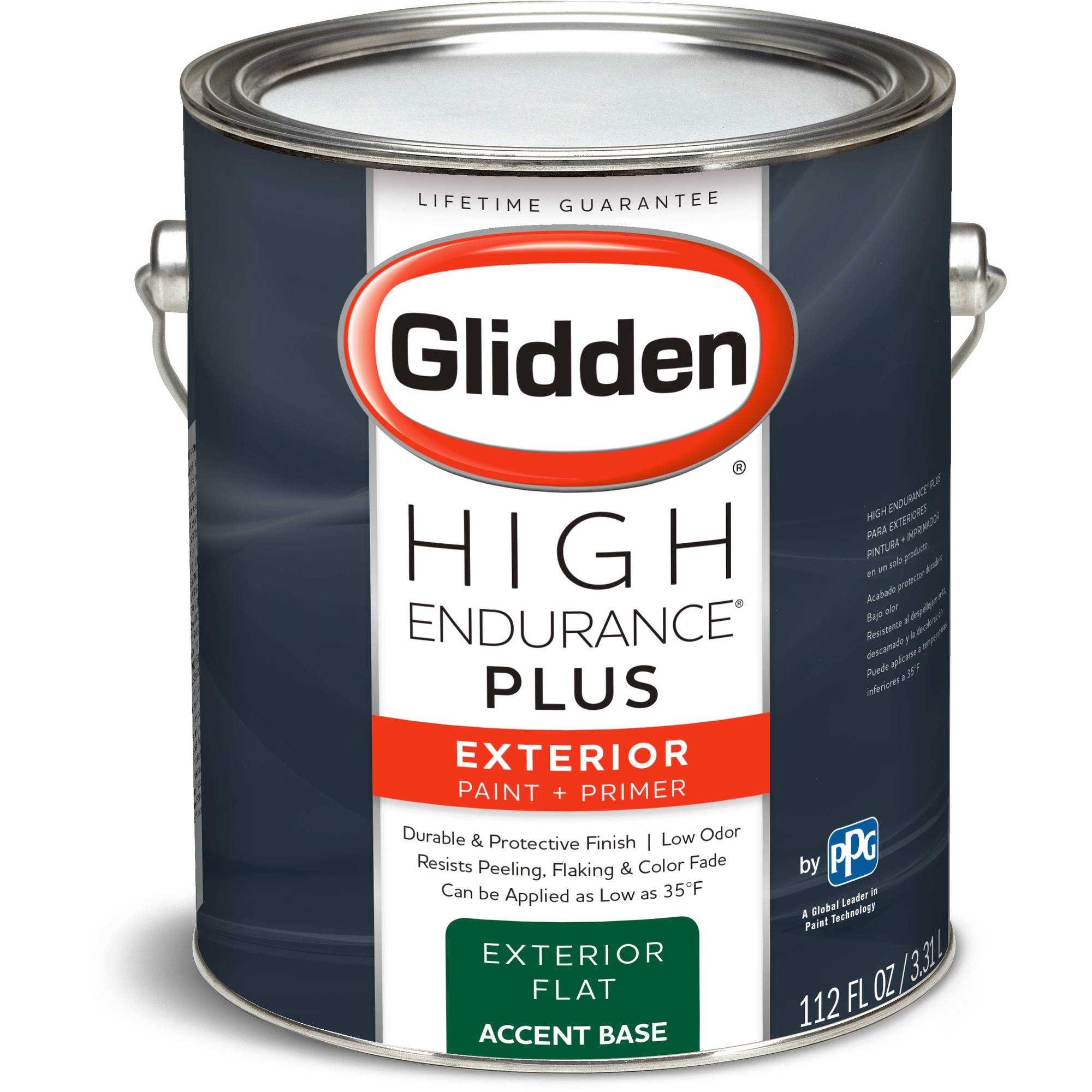 Glidden High Endurance Plus, Exterior Paint and Primer, Flat Finish, Accent Base, 1 Gallon