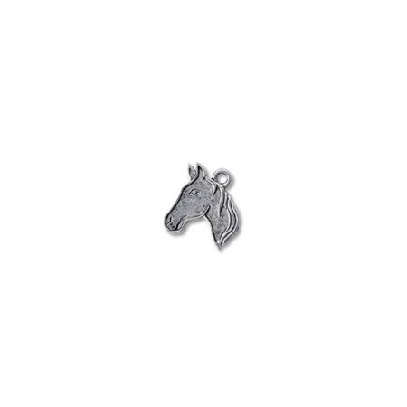 Horse Charm Jewelry - Charm for Jewelry Making - Horse Head Profile 19x15mm Pewter Antique Silver Plated (1-Pc)