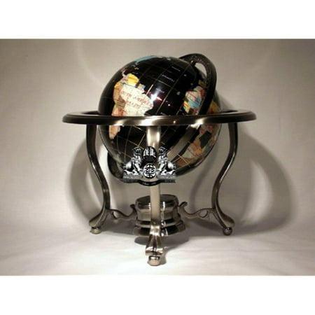 14 black onyx gemstone globe with silver stand