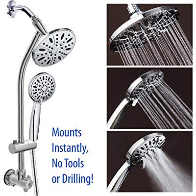 All-Chrome 28 Drill-Free Stainless Steel Slide Bar Combo with 7 Rain Showerhead, 6-setting Hand Shower and Revolutionary Low-Reach 3-way Diverter For Easy Reach. Ultimate Dual Shower Head Spa (Best Drill Less Slide Bar Shower Combo)