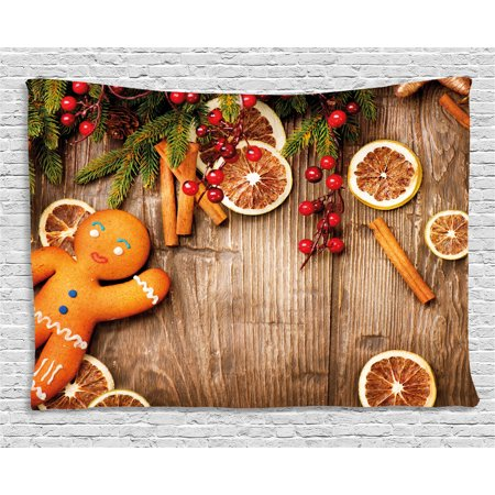 Gingerbread Man Tapestry, Rustic Composition with Holly Berry Orange Slice Cinnamon and Biscuit, Wall Hanging for Bedroom Living Room Dorm Decor, 60W X 40L Inches, Brown Orange Red, by Ambesonne