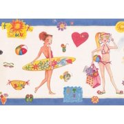Wallpaper Border - Girls Beach Alabaster White Blue Trim Teens Wall Border for Bedroom Bathroom, Roll 15 ft X 8 in