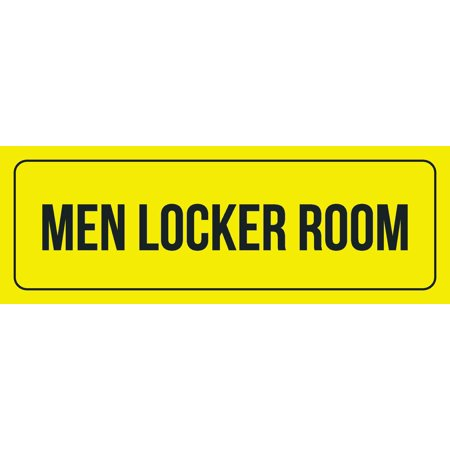 Yellow Background With Black Font Men Locker Room Office Business Retail Outdoor & Indoor Metal Wall Sign, 3x9 Inch
