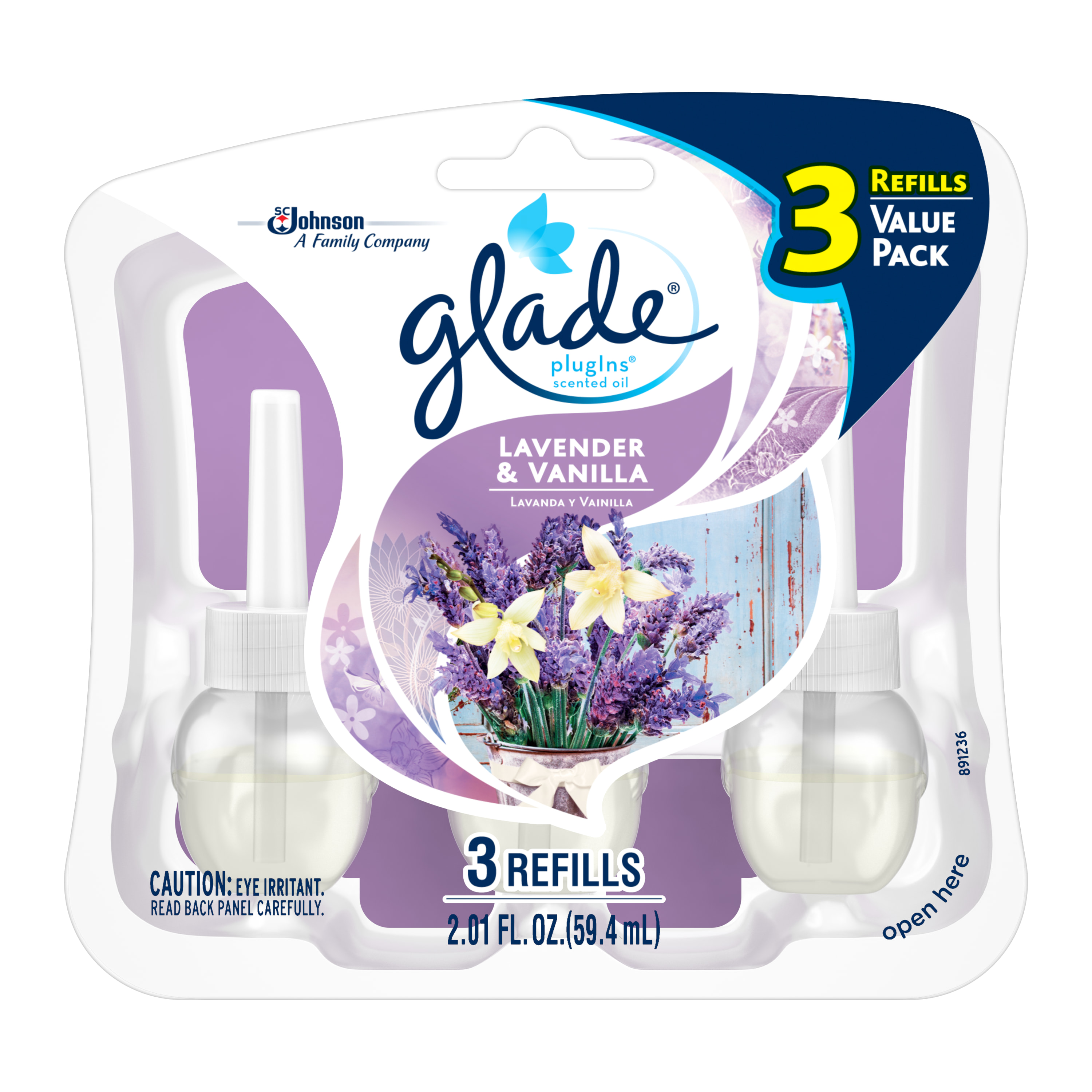 Glade PlugIns Scented Oil Air Freshener Refill, Lavender & Vanilla, 3 count, 2.01 Ounces