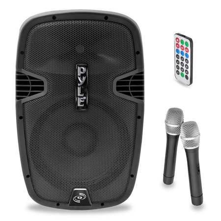 "Pyle 15"" 1600 Watt BT Music Streaming Portable Loudspeaker System - Built-in Battery, 2 Mics, FM Radio, LCD Readout, USB & SD Card Readers"