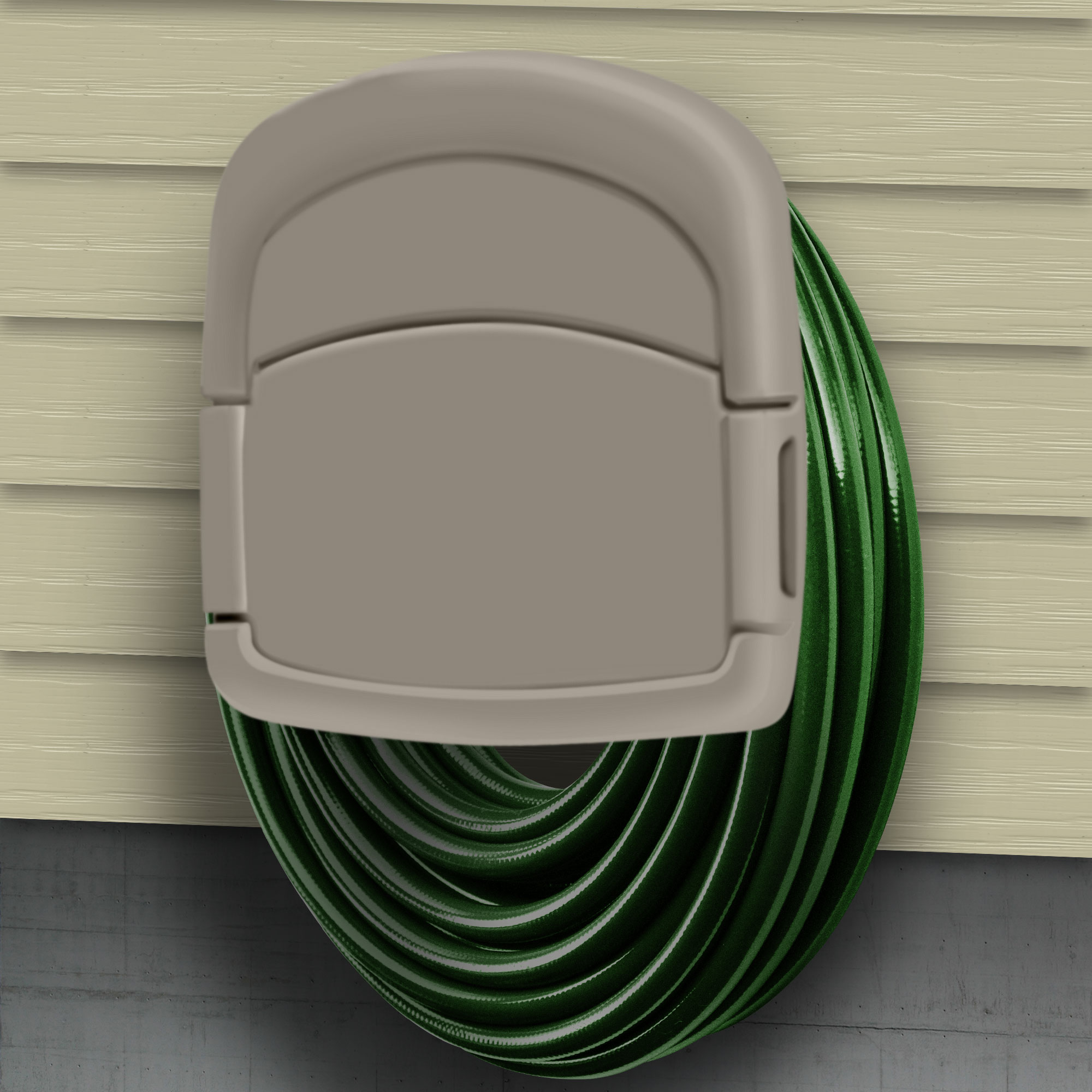 """Wall Mounted Garden Hose Storage Caddy - 150-Foot Capacity for Standard 5/8"""" Garden Hose Outdoor Hanging Organizer Cabinet by Sto-Away"""