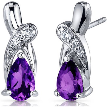 1.50 Carat T.G.W. Pear-Shape Amethyst Cubic Zirconia Accent Rhodium over Sterling Silver Drop Earrings